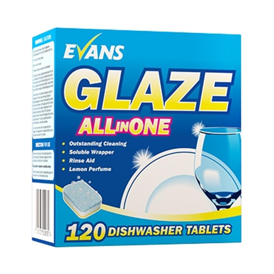 Evans Glaze All in one D/W Tablets (120)