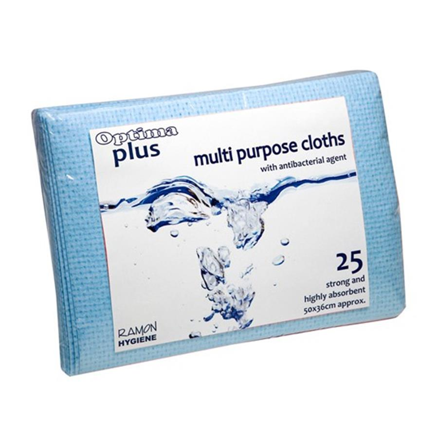 Optima Plus 200 Super Absorbent Cloths - Blue  pack x 25
