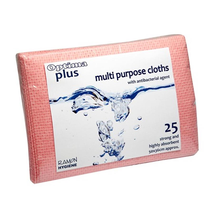 Optima Plus 200 Super Absorbent Cloths - Red  pack x 25